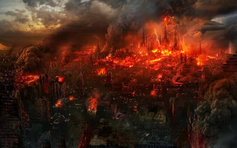 Ciudad en ruinas-con fuego